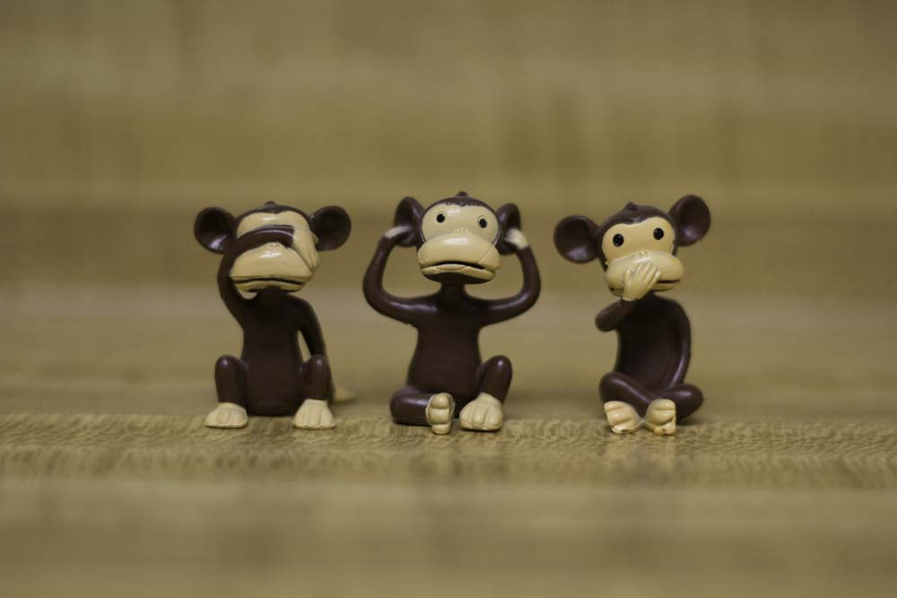 Three monkeys: See no evil, hear no evil, speak no evil